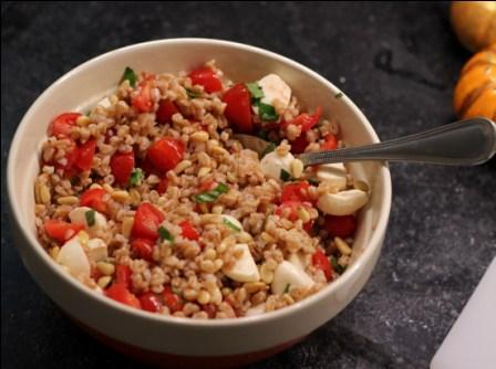 Farro Salad with Pignoli Nuts, Tomato & Mozzarella