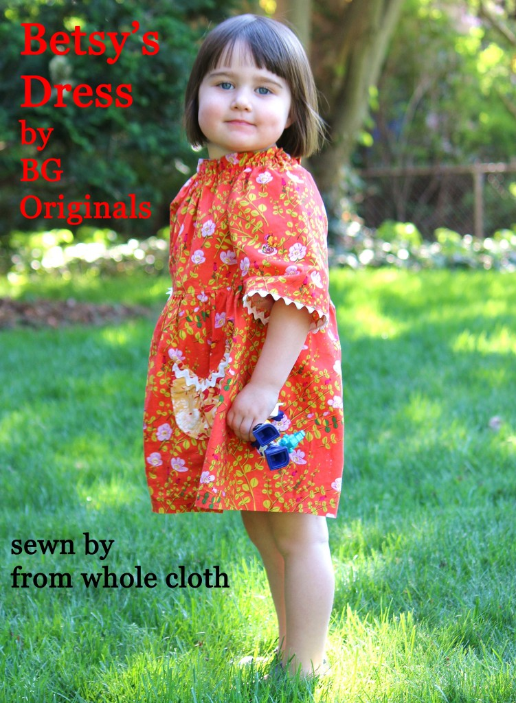 orange Betsy's Dress, a pattern by BG Originals, in a Heather Ross fabric, sewn by fromwholecloth.com