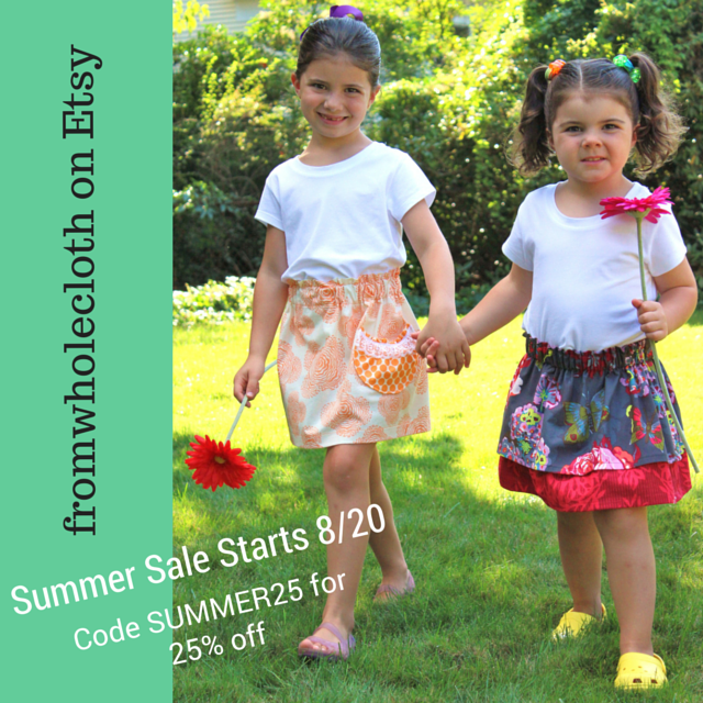 fromwholecloth Etsy shop sale, 25% off in-stock items, use code SUMMER25, all sales final, no returns